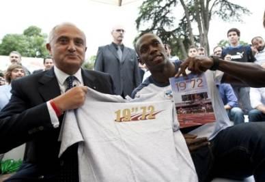 Pietro Mennea con Usain Bolt (Foto Ansa)