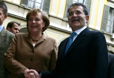 Angela Merkel e Romano Prodi (Foto Imagoeconomica)