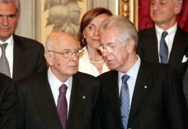 Mario Monti con Giorgio Napolitano