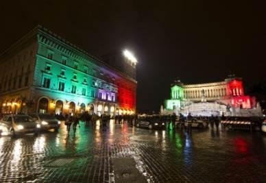 Notte Tricolore a Roma, foto Ansa