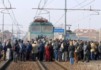 Una protesta dei pendolari