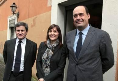 Gianni Alemanno, Renata Polverini e Nicola Zingaretti (Foto Ansa)