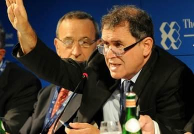 L'economista Usa Nouriel Roubini a Cernobbio (Ansa)