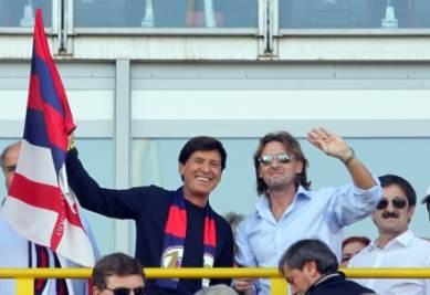 Beppe Signori con Gianni Morandi, foto Ansa