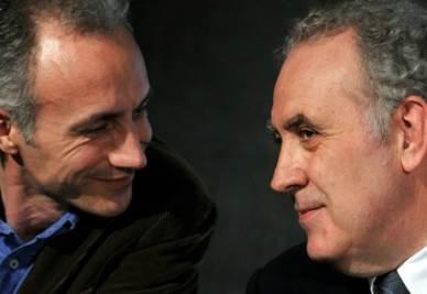 Marco Travaglio e Michele Santoro (Foto Ansa)