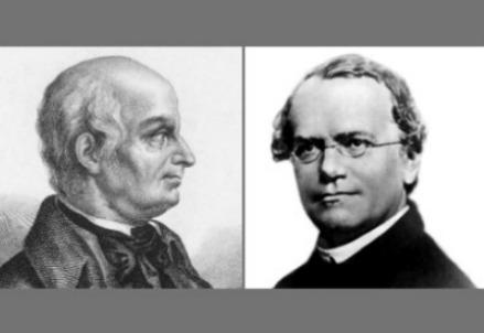 I ritratti di Lazzaro Spallanzani, a sinistra, e Gregor Mendel