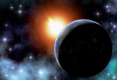 La terra e il sole nello spazio