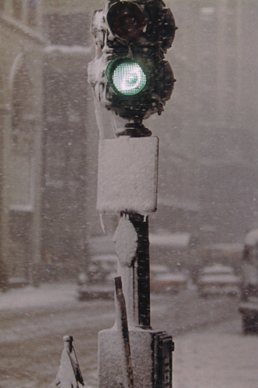 Saul Leiter, Green Light Against Grey, New York, c. 1950s
