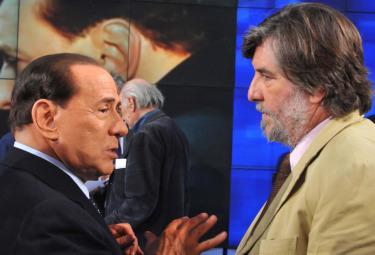 Silvio Berlusconi e Piero Sansonetti (Foto Imagoeconomica)