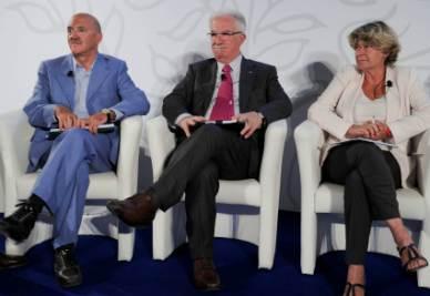Luigi Angeletti, Raffaele Bonanni e Susanna Camusso (Foto Imagoeconomica)