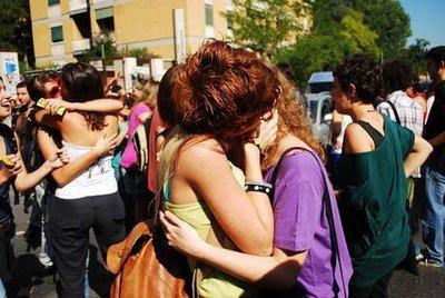 La manifestazione omosessuale a Barcellona, foto Ansa
