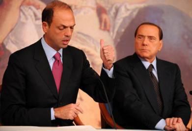 Alfano e Berlusconi, foto Ansa