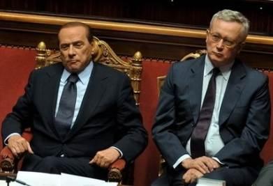 Berlusconi e Tremonti al Senato (Imagoeconomica)