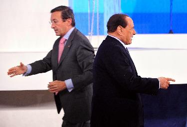 Gianfranco Fini e Silvio Berlusconi (Foto Imagoeconomica)
