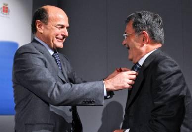 Pierluigi Bersani e Romano Prodi (Foto Imagoeconomica)
