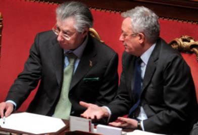 Umberto Bossi e Giulio Tremonti (Foto Imagoeconomica)