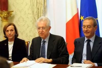Monti, Fornero e Catricalà (Imagoeconomica)