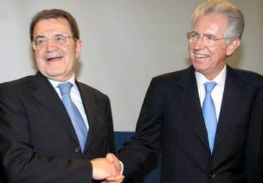 Romano Prodi e Mario Monti (Foto Imagoeconomica)