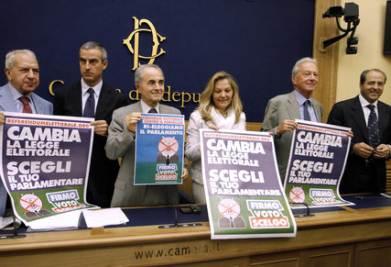I promotori del referendum per cambiare la legge elettorale (Imagoeconomica)