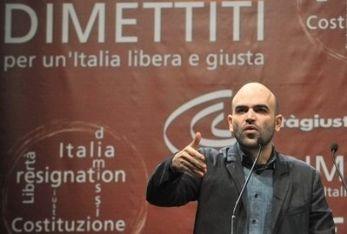 Roberto Saviano alla manifestazione di Giustizia e Libertà (Imagoeconomica)
