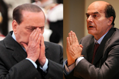 Silvio Berlusconi e Pierluigi Bersani (Foto Imagoeconomica)