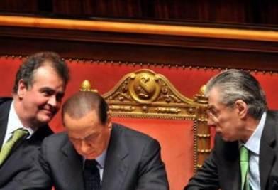 Berlusconi, Bossi e Calderoli (Imagoeconomica)