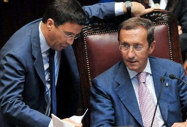 Italo Bocchino e Gianfranco Fini (Imagoeconomica)
