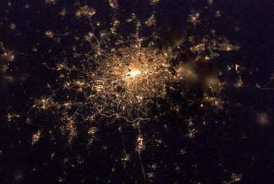 Un'immagine di Londra scattata dallo spazio, foto NASA