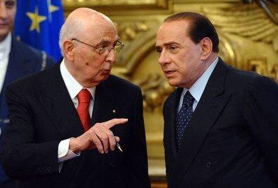 Giorgio Napolitano e Silvio Berlusconi (Foto Imagoeconomica)