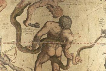 Una raffigurazione antica della costellazione di Ofiuco