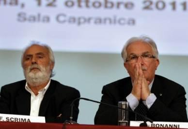 Francesco Scrima, Cisl Scuola, con Raffaele Bonanni (Imagoeconomica)