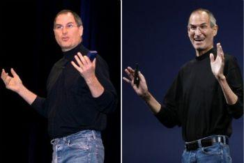 Steve Jobs, nel 2000 e oggi, foto Ansa