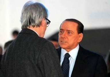 Vittorio Feltri e Silvio Berlusconi (Infophoto)
