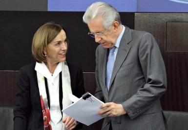 Elsa Fornero e Mario Monti (Infophoto)