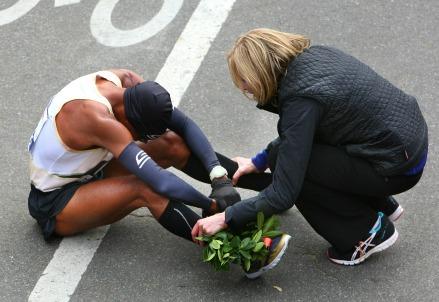 Un atleta alla Maratona di New York (Infophoto)