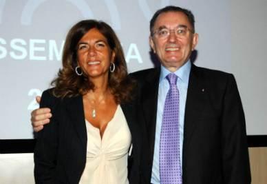 Emma Marcegaglia e Giorgio Squinzi (Infophoto)