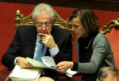 Mario Monti ed Elsa Fornero (Infophoto)