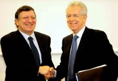 Barroso e Monti in una immagine d'archivio (InfoPhoto)