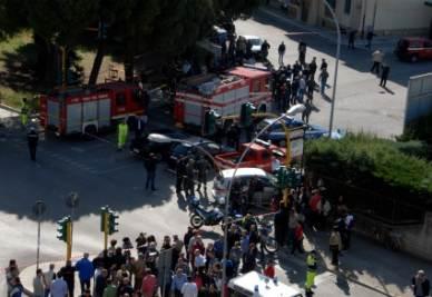 Il piazzale della scuola (Foto: Infophoto)