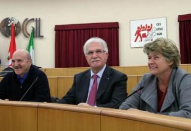 Angeletti, Bonanni e Camusso (Foto InfoPhoto)