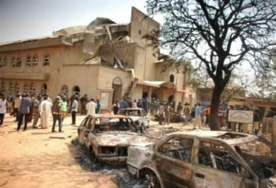 CHiesa distrutta da terroisti islamici in Nigeria, foto Infophoto