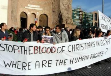 Una manifestazione per i copti in Egitto (InfoPhoto)