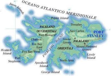 Una cartina delle Falkland