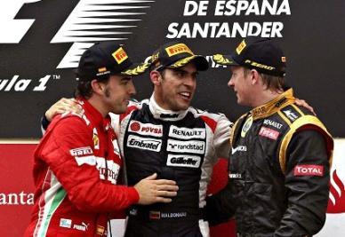Il podio dell'ultimo Gran Premio di Formula 1 (Infophoto)