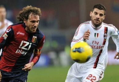 Marco Rossi (sinistra) e Nocerino, nella gara d'andata vinta 2-0 dal Milan (INFOPHOTO)