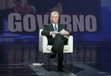 Il premier Monti a Matrix (Infophoto)