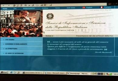 Il sito ufficiale dei servizi segreti italiani, foto Infophoto