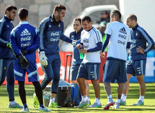 L'Argentina si allena a La Serena (Foto Infophoto)