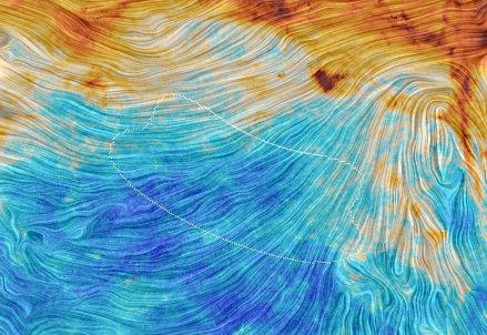 Parte di cielo con le misure in polarizzazione di Planck e, tratteggiata, la regione osservata da Bicep2 (Crediti: ESA/Planck)
