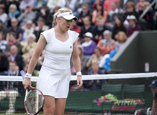 Elena Baltacha in una delle ultime apparizioni in campo, a Wimbledon 2013 (Infophoto)